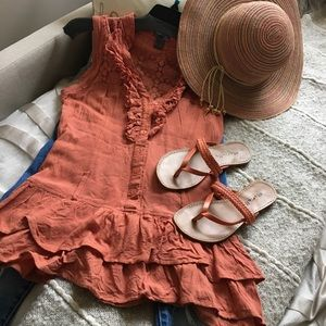 Poetry ruffle lace button up romantic V-neck tank